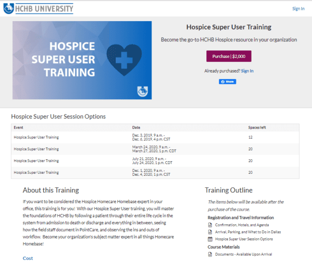 HCHB Course Page